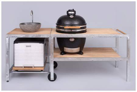 MONOLITH GRILL Classic 46cm - red incl. steel cart, side shelves and accesories
