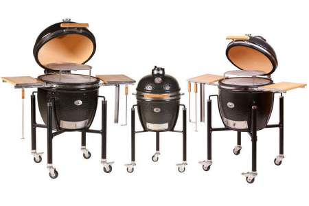 MONOLITH GRILL - black incl. stainless-steel cart, side shelves and accesories